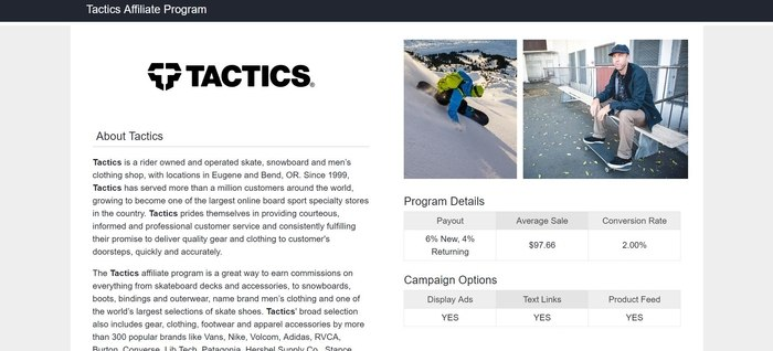 screenshot of the affiliate sign up page for Tactics