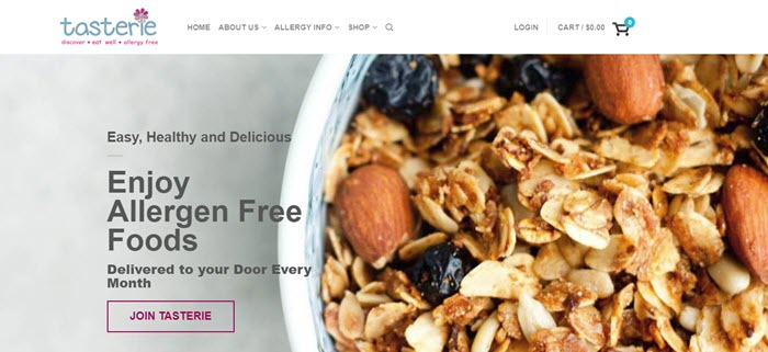 Tasterie website screenshot showing an overhead view of granola with oats, nuts and fruit.