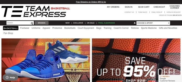 screenshot of the affiliate sign up page for Team Express