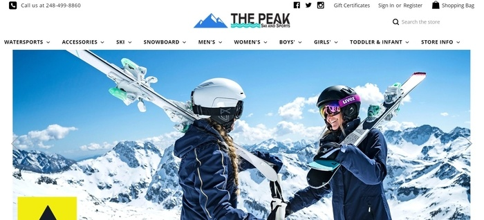 screenshot of the affiliate sign up page for The Peak Ski and Sports