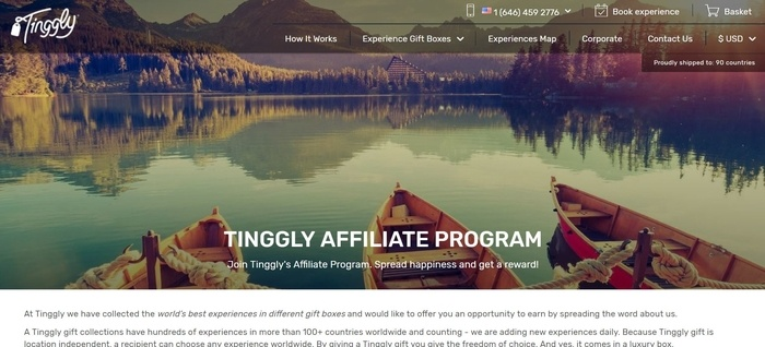 screenshot of the affiliate sign up page for Tinggly