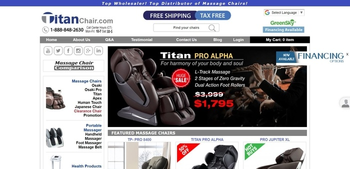 screenshot of the affiliate sign up page for Titan Chair