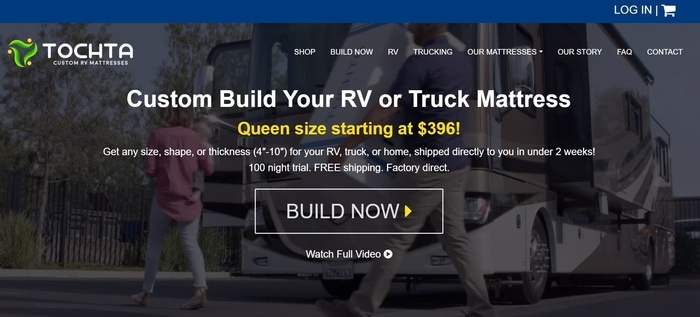 screenshot of the affiliate sign up page for Tochta Custom RV Mattress