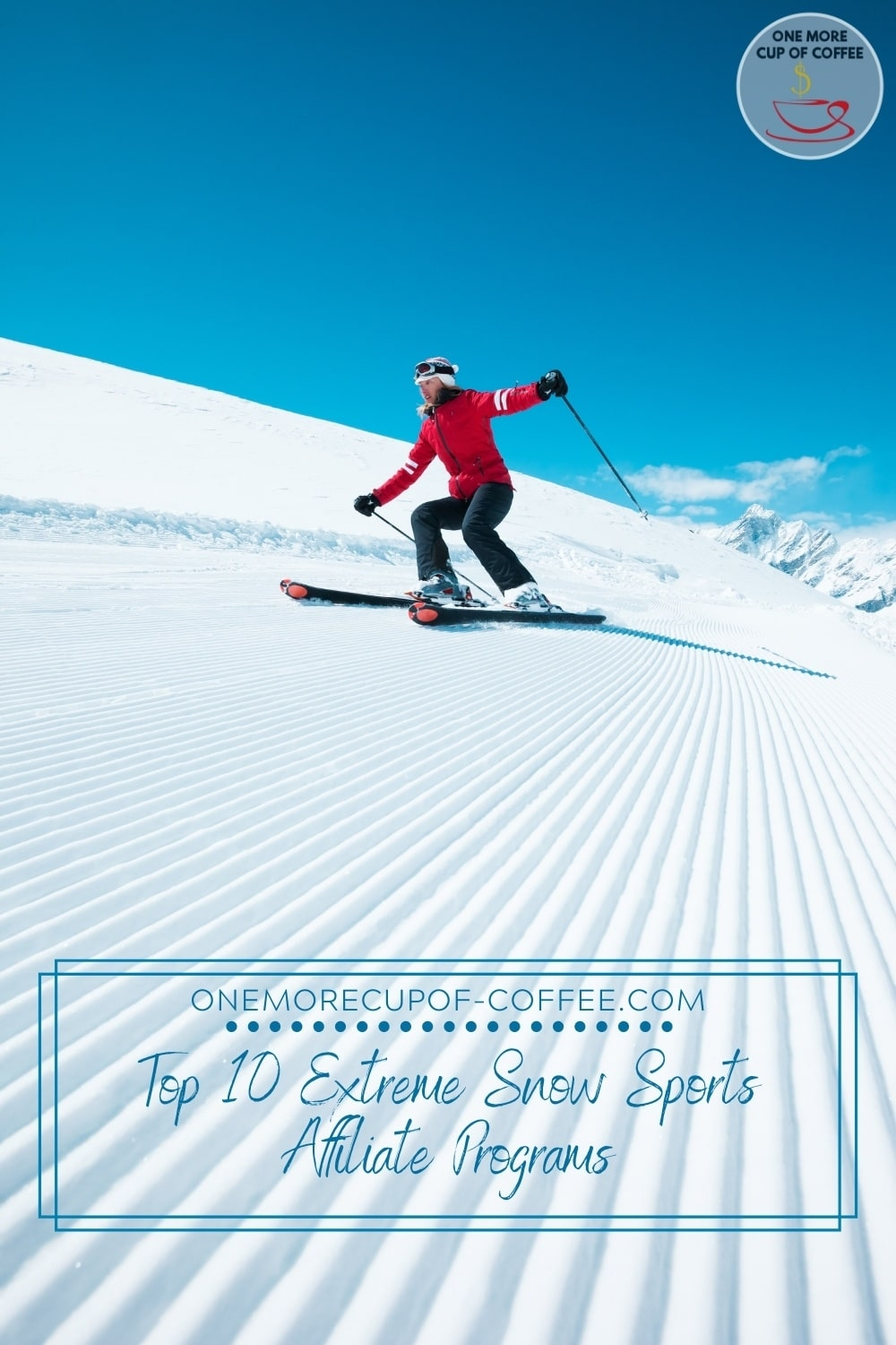 woman skiing in red and black ski outfit, with text overlay