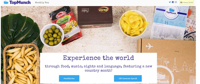 TopMunch website screenshot showing various food products and an image of the box.