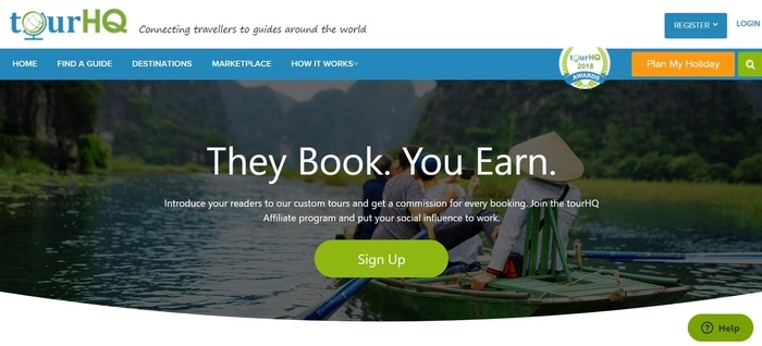 screenshot of the affiliate sign up page for TourHQ