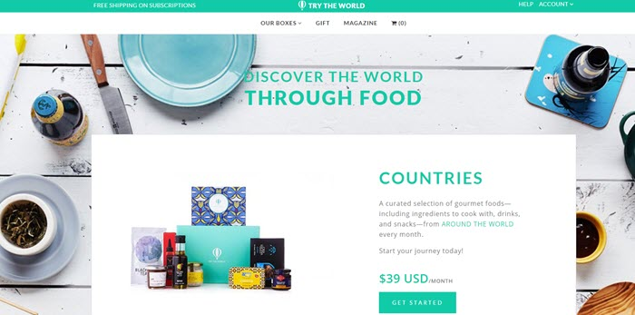 Try the World website screenshot showing images of various products, along with an image of the box.