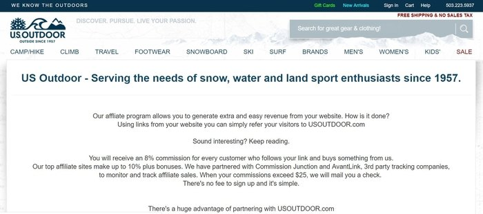screenshot of the affiliate sign up page for US Outdoor