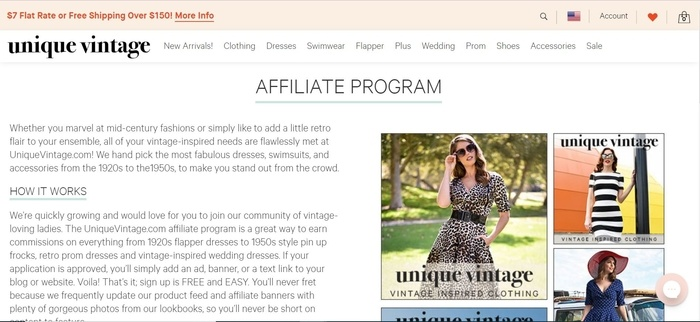screenshot of the affiliate sign up page for UniqueVintage