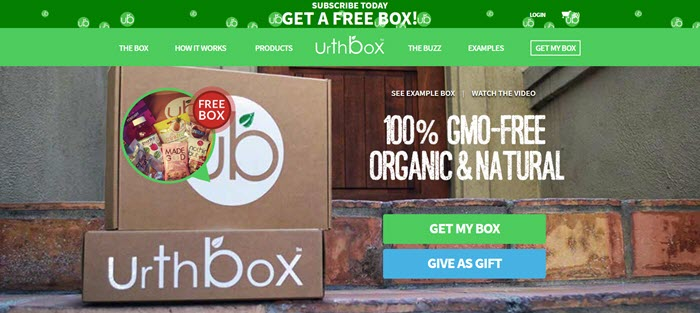 UrthBox website screenshot showing two closed boxes from the company on steps, along with an image of the snacks inside it.