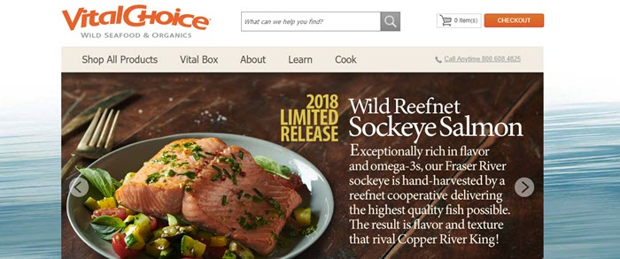 Vital Choice website screenshot showing a meal with freshly cooked salmon.