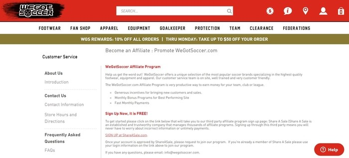 screenshot of the affiliate sign up page for WeGotSoccer