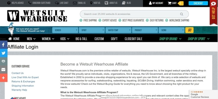 screenshot of the affiliate sign up page for Wetsuit Warehouse