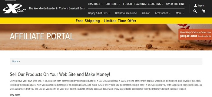 screenshot of the affiliate sign up page for X Bats