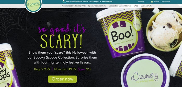 eCreamery website screenshot showing a black background with various Halloween-themed ice cream containers.