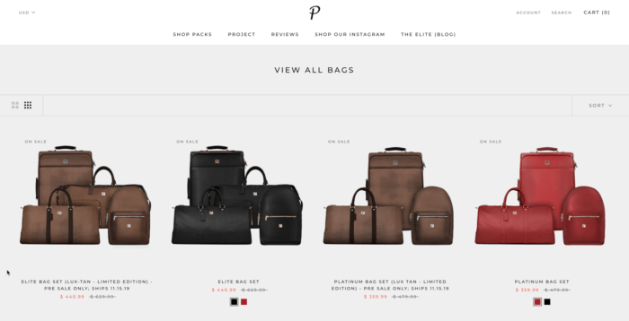 project packs website bag listing screenshot