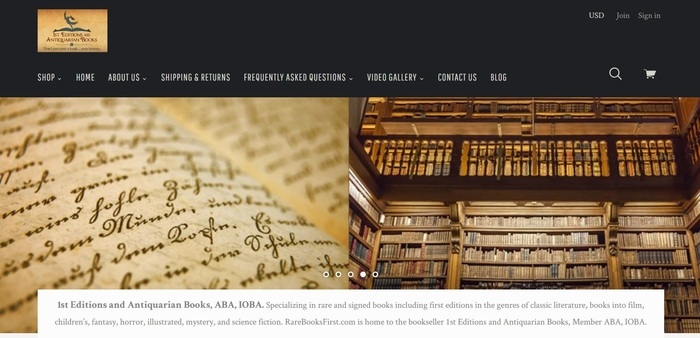 screenshot of the affiliate sign up page for 1st Editions and Antiquarian Books