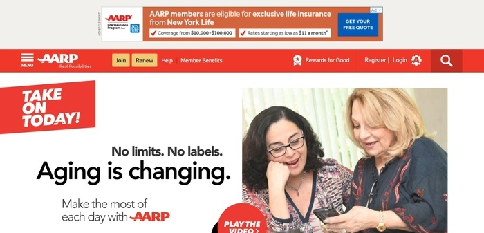 screenshot of the affiliate sign up page for AARP
