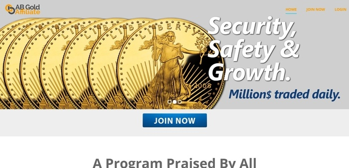 screenshot of the affiliate sign up page for American Bullion