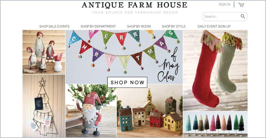 screenshot of Antique Farmhouse home page