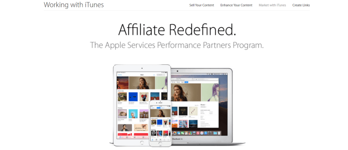 A website screenshot from the Apple App Store showing a computer, tablet and phone with images of the stores