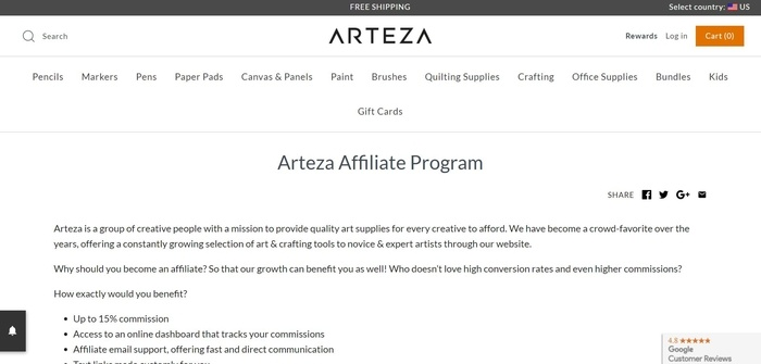 screenshot of the affiliate sign up page for Arteza