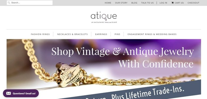 screenshot of the affiliate sign up page for Atique