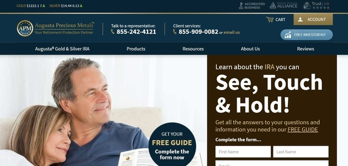 screenshot of the affiliate sign up page for Augusta Precious Metals