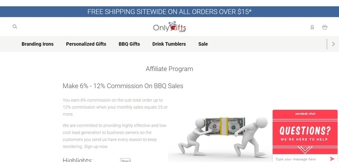 screenshot of the affiliate sign up page for BBQFans.com