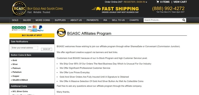 screenshot of the affiliate sign up page for BGASC