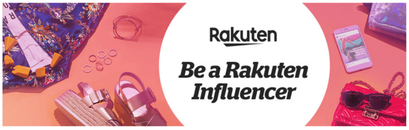 An image of the Rakuten affiliate signup page, with text about being an influencer and various summer products