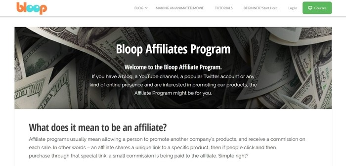 screenshot of the affiliate sign up page for Bloop Animation