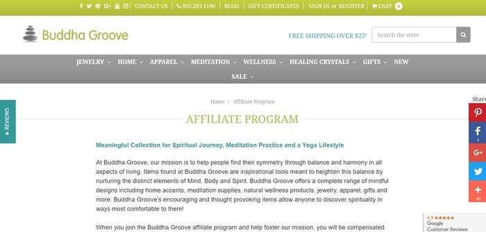 screenshot of the affiliate sign up page for Buddha Groove