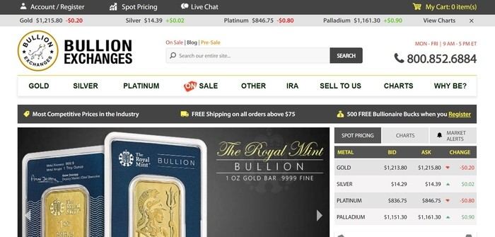 screenshot of the affiliate sign up page for Bullion Exchanges
