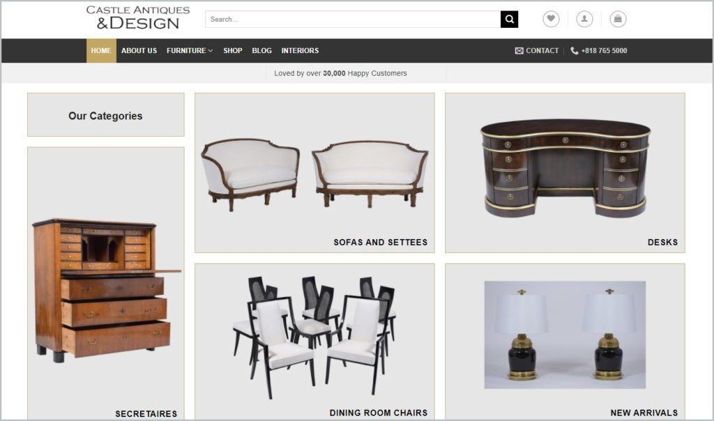 screenshot of Castle Antiques home page