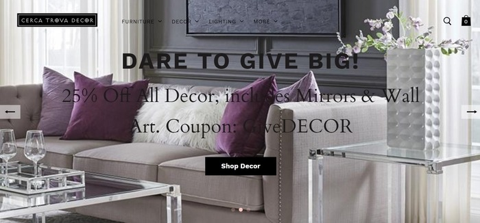 screenshot of the affiliate sign up page for Cerca Trova Decor