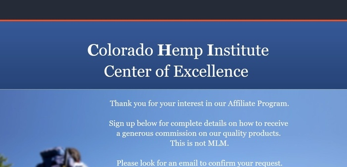 screenshot of the affiliate sign up page for Colorado Hemp Institute