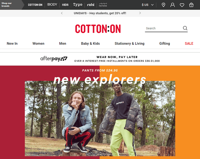 Cotton On Home Page