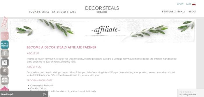 screenshot of the affiliate sign up page for Decor Steals