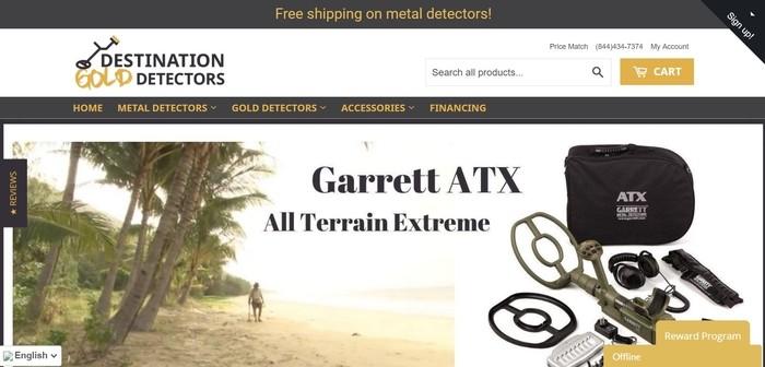 screenshot of the affiliate sign up page for Destination Gold Detectors