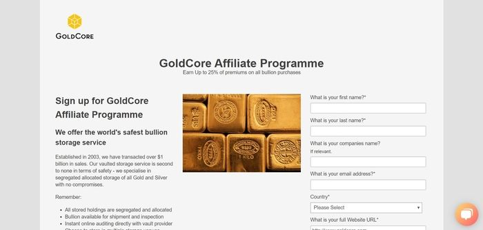 screenshot of the affiliate sign up page for GoldCore
