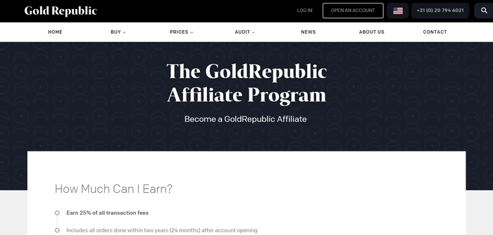 screenshot of the affiliate sign up page for GoldRepublic