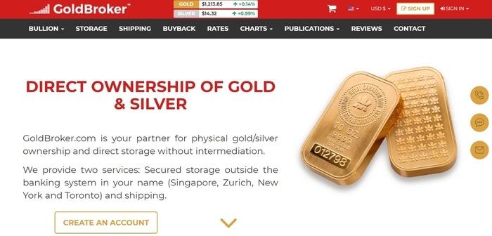 screenshot of the affiliate sign up page for Goldbroker.com