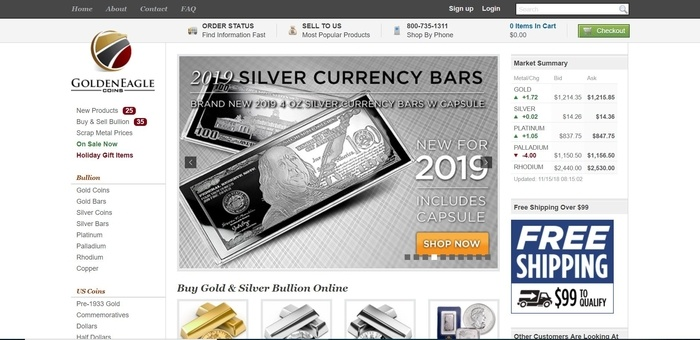 screenshot of the affiliate sign up page for Golden Eagle Coins