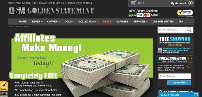 screenshot of the affiliate sign up page for Golden State Mint