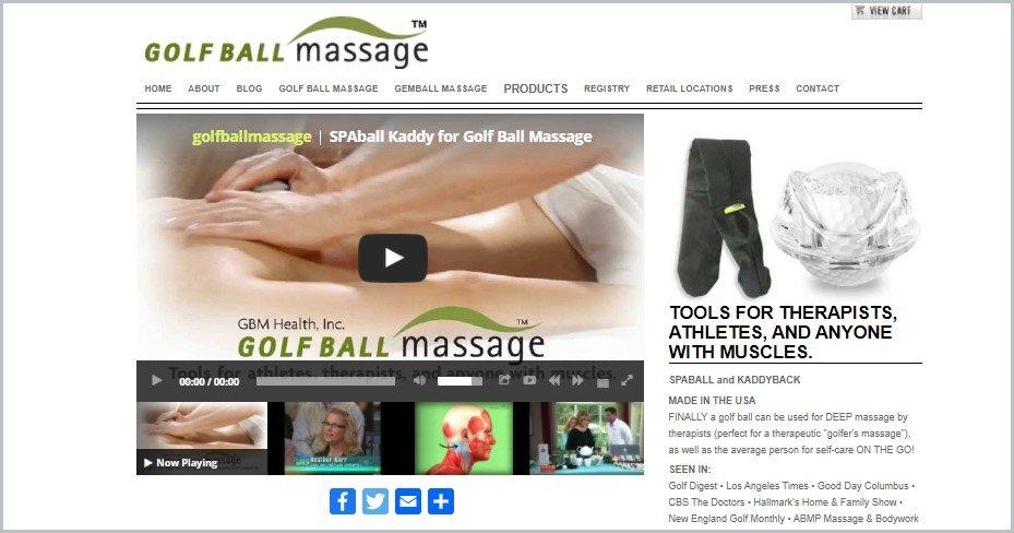 screenshot of Golf Ball Massage home page