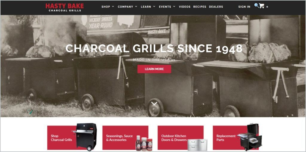 screenshot of Hasty Bake Charcoal Grills home page