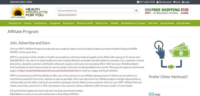 screenshot of the affiliate sign up page for Health Products For You
