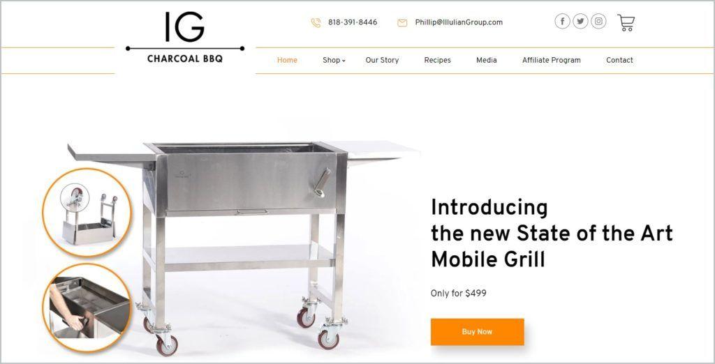 screenshot of IG Charcoal BBQ home page