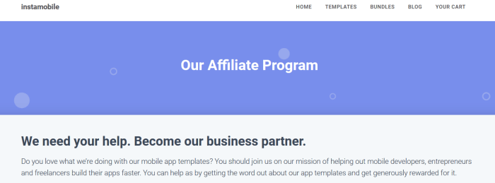 Instamobile affiliate program showing a purple background and white text